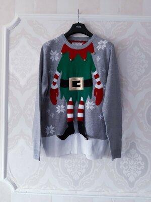 Размер L Обалденный фирменный новогодний мужской свитер