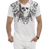 Мужская футболка белая Lc Waikiki / Лс Вайкики с черепом на груди