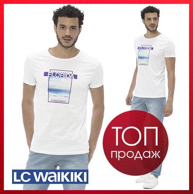 Мужская футболка белая Lc Waikiki / Лс Вайкики с надписью Florida