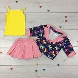 Летний костюм тройка на девочку комплект летний яркий в расцветках