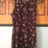 Платье в цветочек шоколадного цвета
