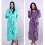 Длинный махровый халат женский