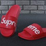 Мужские шлепанцы Supreme Slippers Red Суприм