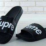 Мужские шлепанцы Supreme Slippers Black Суприм
