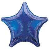Шар фольгированный звезда с голограммой синий