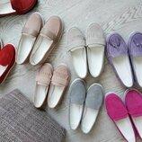 Высокое качество Натуральные замшевые женские лоферы мокасины туфли Разные цвета
