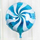 Шар фольга голубой леденец 45см