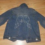 Стильная джинсовая куртка ветровка для девочки 5-6-7л 116-120 см