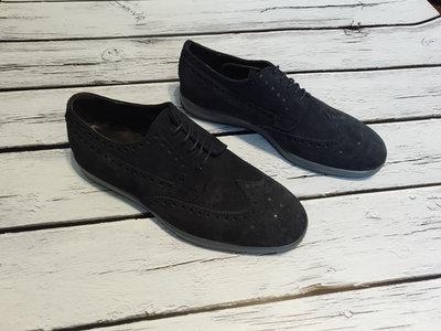 Туфли с перфорацией броги итальянские замшевые туфлі