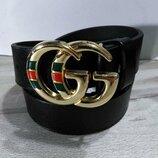 Кожаный чорный ремень в стиле Gucci, Гуччи унисекс