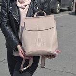 Шикарный кожаный рюкзак-трансформер, цвет пудра