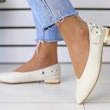 Туфли с ремешком, натуральная кожа, беж