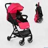 Коляска прогулочная детская С - 410 JOY , розовая, футкавер, дождевик, съемный бампер