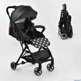 Коляска прогулочная детская С - 540 JOY , темно-серая, футкавер, дождевик, съемный бампер