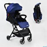 Коляска прогулочная детская С - 785 JOY , синяя, футкавер, дождевик, съемный бампер