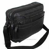 Кожаная мужская сумка PRE1863 черная для документов ноутбука 36х25см
