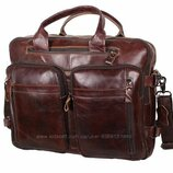 Кожаная мужская сумка PRE1710 коричневая для документов А4 ноутбука 39х31см