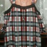 Для шикарной модницы Модная брендовая туника в клетку с открытыми плечами р.20
