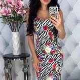 Стильное облегающее стрейчевое коттоновое платье с цветочным принтом скл.1 арт. 53053