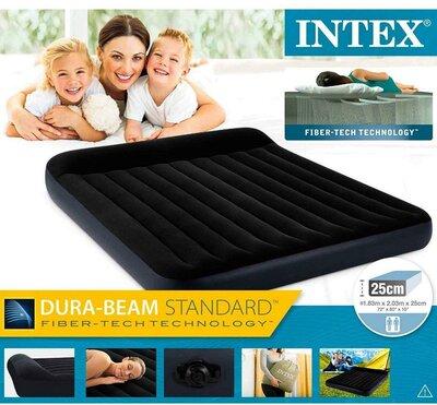 Intex Велюр Кровать 64144 с подголовником, размер 183x203x25 см