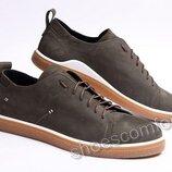Кеды кожаные мужские в стиле Tommy Hilfiger M - 110 оливковые
