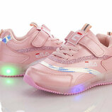 Светящиеся LED кроссовки для девочек BBT 3202-3 Размеры 31-36