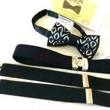 Эксклюзивный галстук бабочка в черном цвете. Галстук бабочка чёрная