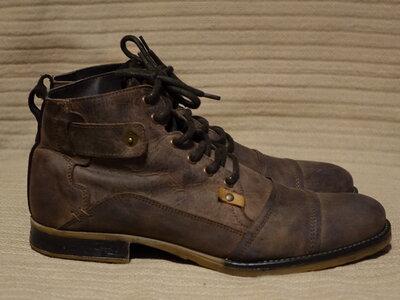 Брутальные фирменные ботинки из промасленного нубука Urban X Голландия 45 р.