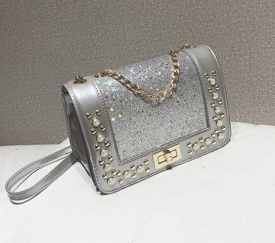 Элегантная глянцевая сумка клатч с блестками и камнями стразами В Наличии