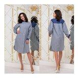 Женское платье-рубашка лен мод.3123 Лен