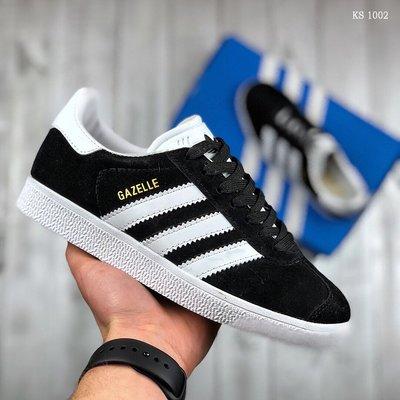 Топ Качество. Бесплатная доставка. Кроссовки Adidas Gazelle черно-белые KS 1002