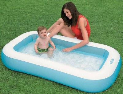 Детский бассейн надувной с надувным дном Intex для малышей