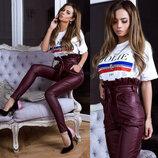 Шикарные женские кожаные брюки с высокой талией Bransh арт.161 скл.10