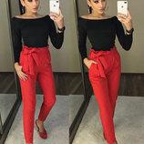 Женские брюки штаны с высокой талией из костюмной ткани Панни арт.160 скл.10
