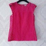 Размер 10,10-12 Шикарная фирменная хлопковая полностью кружевная блузка