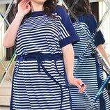Платье повседневноеXL вискоза полоска синий белый
