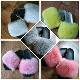 Шлепанцы с натуральным мехом кролика/ шлепки/ натуральный мех/ летняя обувь