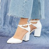 Туфли, натуральная кожа, с перекрестными ремешками, белые
