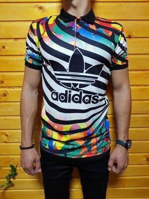 Стильное мужское поло Adidas S / M / L / XL / XXL