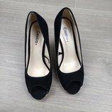 Балетки туфли на каблуке черные классика открытый носок размер 36