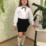 Школьная блуза на девочку белая школьная блуза с длинным рукавом рост 92-140
