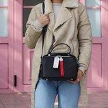 Женская кожаная сумочкаPolina & Eiterou черная голубая розовая бежевая жіноча шкіряна сумка чорна