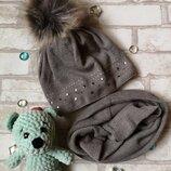 Комплект шапка хомут на девочку agbo 52-54