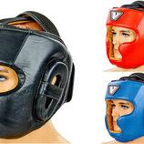 Шлем боксерский с полной защитой кожаный Velo 8193 размер М-Xl, 3 цвета
