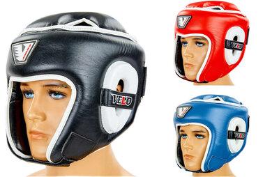 Шлем боксерский открытый с усиленной защитой макушки кожаный Velo 8195 размер M-XL, 3 цвета