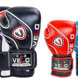 Перчатки боксерские кожаные на липучке Velo 8188 10-12 унций 3 цвета