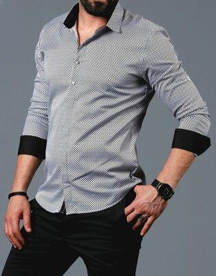 Рубашка мужская длинный рукав Турция 01-01-534