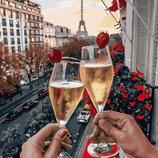 Картина По Номерам. BRUSHME БОКАЛЫ Парижа С Ягодами . Місцеві пейзажі. Городской пейзаж.