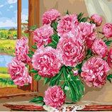 Картина По Номерам. BRUSHME ЯРКИЕ Пионы . Цветы. Квіти.