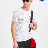 Мужская футболка белая Lc Waikiki / Лс Вайкики в мраморный рисунок